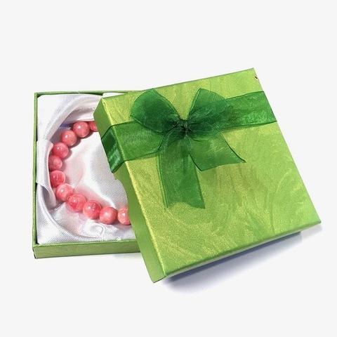 Подарочная коробка для браслета 9 х 9 см зеленая