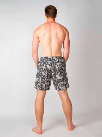 Винтажные пляжные шорты «Таинственный лес»