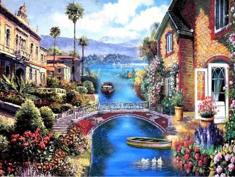 Алмазная Мозаика 30x40 Город на воде (арт. GB70193)