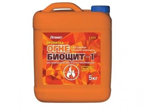 Оптимист Пропитка ОГНЕ-БИОЩИТ-1 для защиты древесины от огня и биопоражения I и II группы огнезащитной эффективности C413