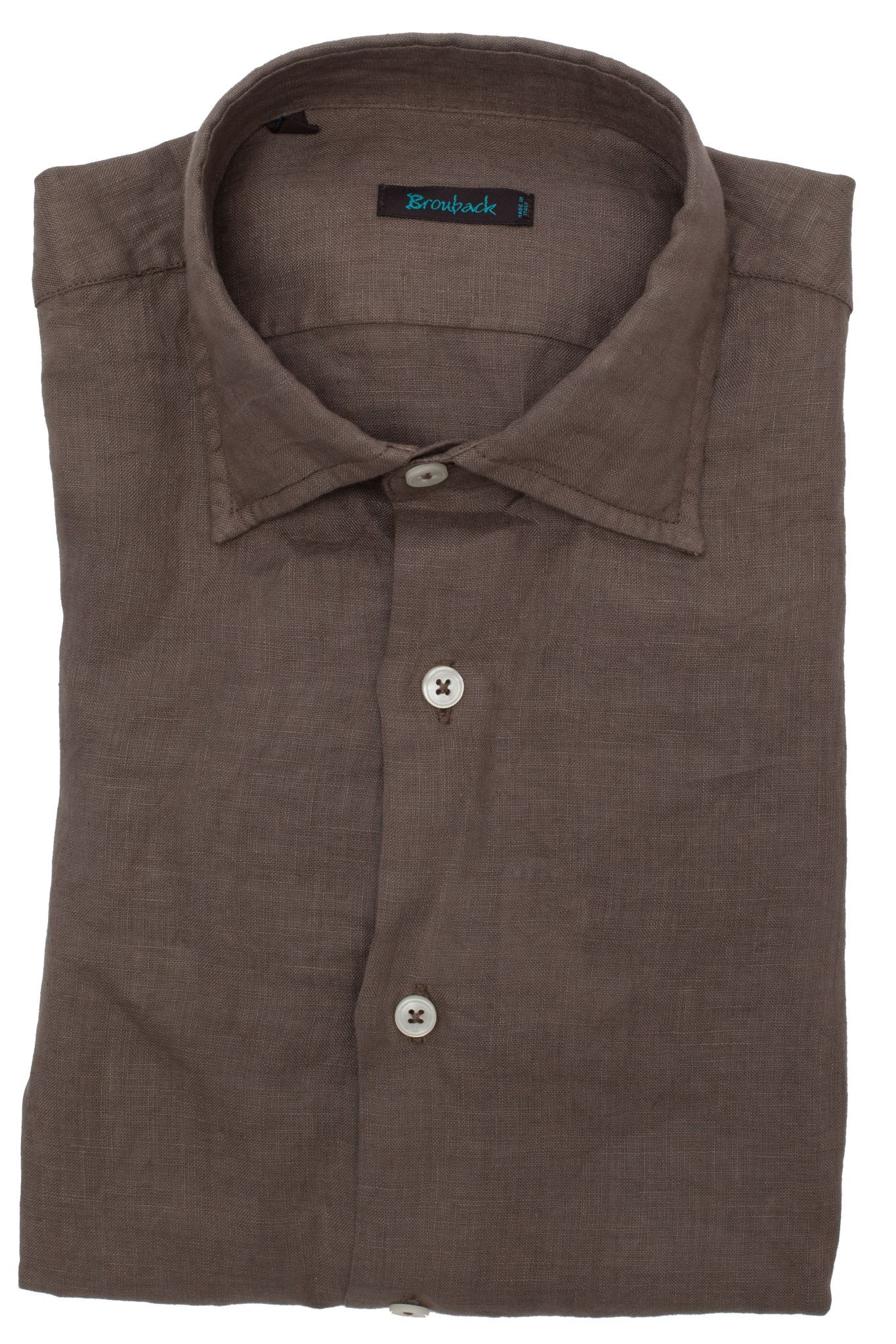 Светло-коричневая льняная рубашка