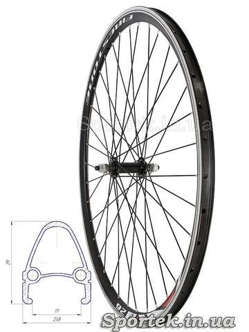 Переднє велосипедне колесо 26 дюймів з подвійним алюмінієвим ободом
