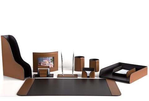 Канцелярский набор для рабочего стола 10 предметов, кожа натуральная, цвет табак/шоколад №64