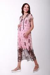 Платье для беременных и кормящих цвет розовый + черный