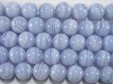Нить бусин из агата голубого, шар гладкий 10мм