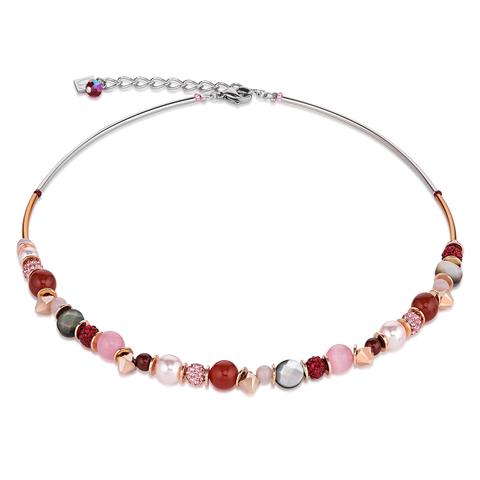 Колье Coeur de Lion 4864/10-0319 цвет красный, розовый, бежевый