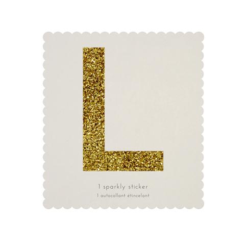 Стикер L, мерцающее золото