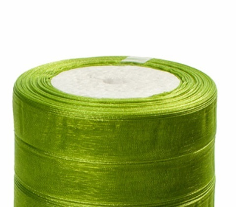 Лента органза (размер:15мм х 25 ярдов) Цвет:зеленое яблоко