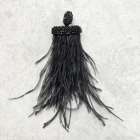 Моносерьга - клипса с черными перьями