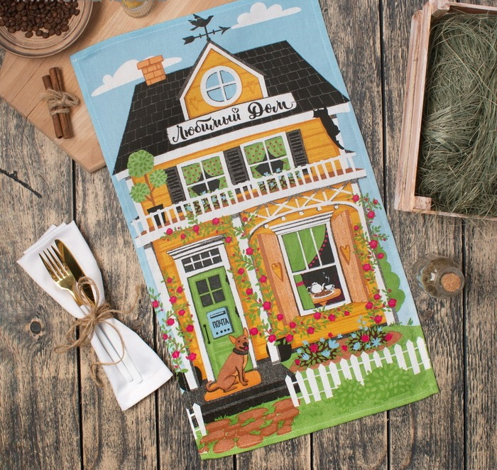 Полотенце кухонное Любимый дом 35х60 см фото