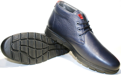 Модные ботинки мужские синие кожа Cabani