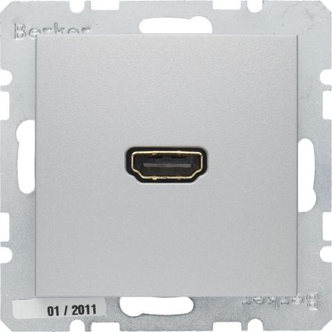 Розетка HDMI. Цвет Алюминий. Berker (Беркер). S.1 / B.3 / B.7. 3315421404