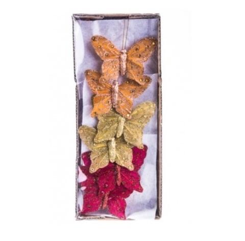 Набор бабочек с глиттером на прищепках из 12 шт., размер: 8 см