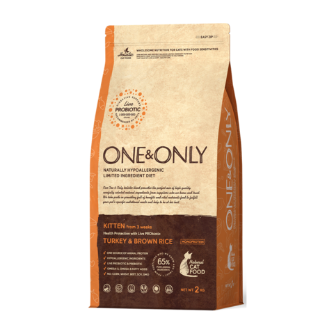 One&Only Turkey & Rice Kitten Сухой корм для котят Индейка с рисом низкозерновой