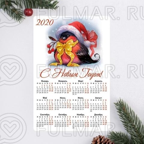Календарь-магнит новогодний со Снегирём, 12х8 см цвет: белый