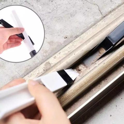 Бытовая щетка-кисть с совком для чистки окон, щелей, клавиатуры Чёрная