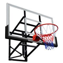 """Баскетбольный щит 72"""" (1800 х 1050 мм.) из закаленного стекла, ферма с регулировкой высоты, амортизационное кольцо, сетка."""