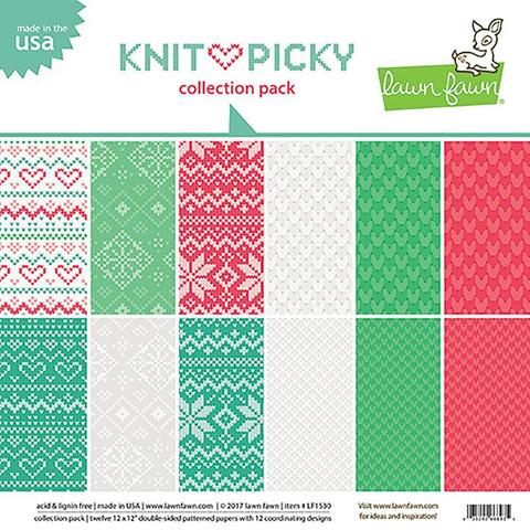 Набор бумаги - Lawn Fawn Knit Picky Christmas- 30х30см