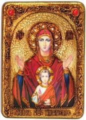 Инкрустированная икона Образ Божией Матери Знамение 29х21см на натуральном дереве в подарочной коробке
