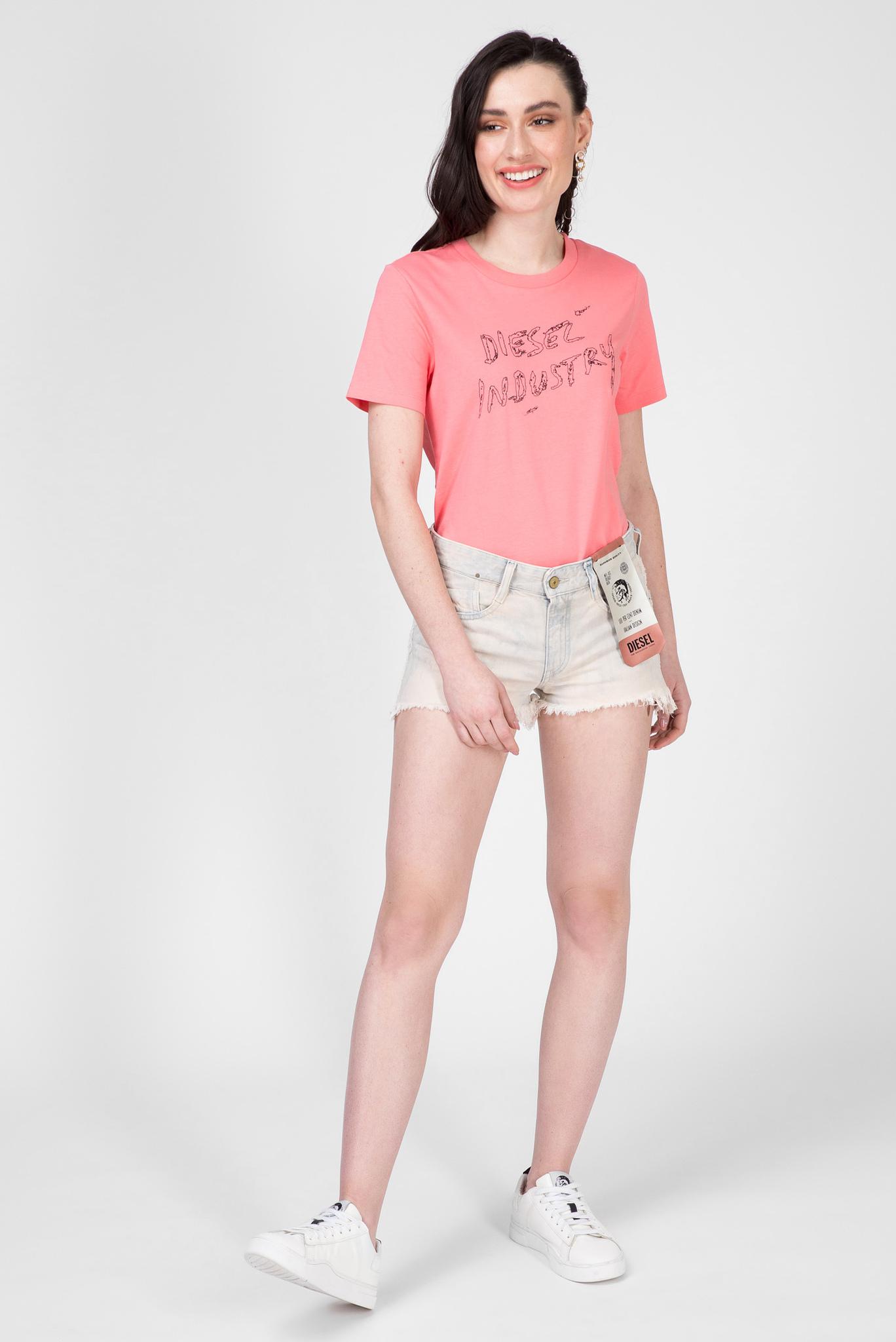 Женская розовая футболка T-SILY-S7 Diesel