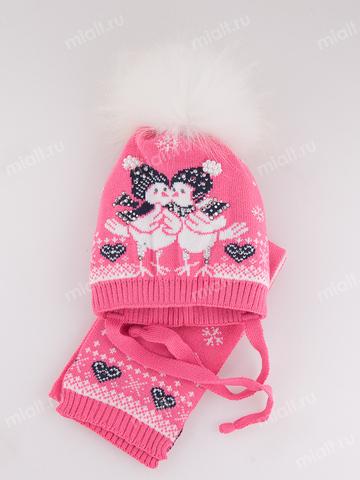 Зимняя шапка и шарф для девочки Mialt Болтушки