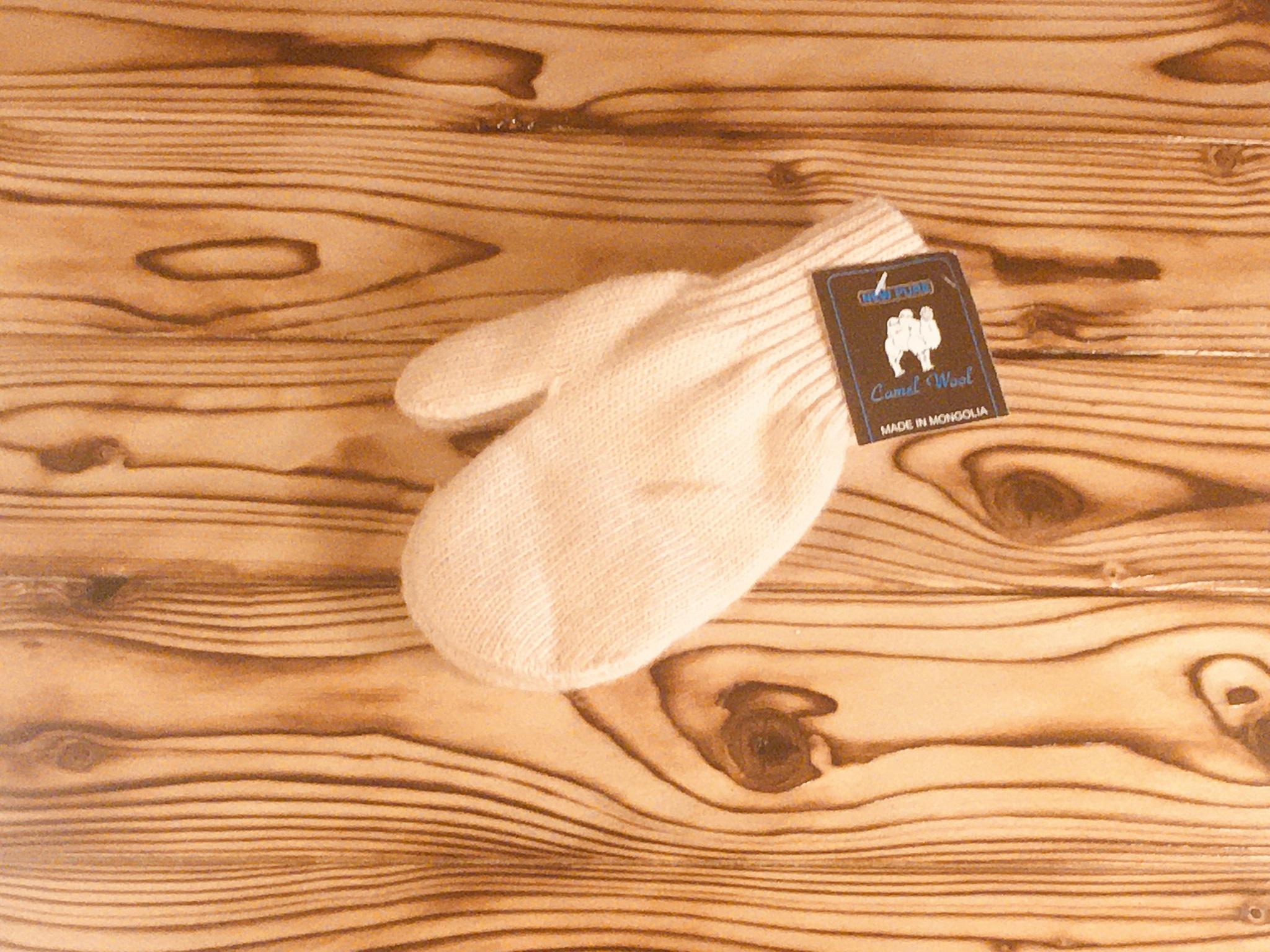 Подростковые варежки из верблюжьей шерсти (белые)  фото1