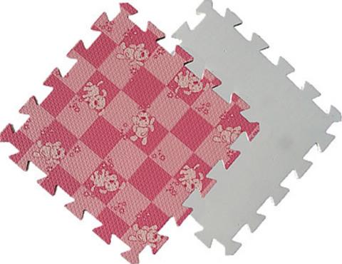 Детский мягкий пол «Розовая клетка с собачками». Коврики-пазлы.