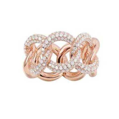 Кольцо из серебра с позолотой в виде цепи в стиле  APM MONACO