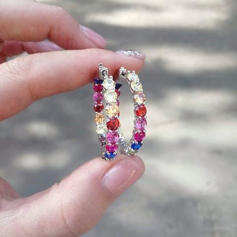 47993- Серьги-конго из серебра с цветными цирконами