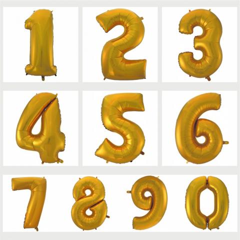 Цифра фольгированная золотая 101 см.