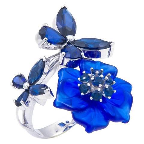 Кольцо с цветами из кварца и сапфиром Арт. 1178сс