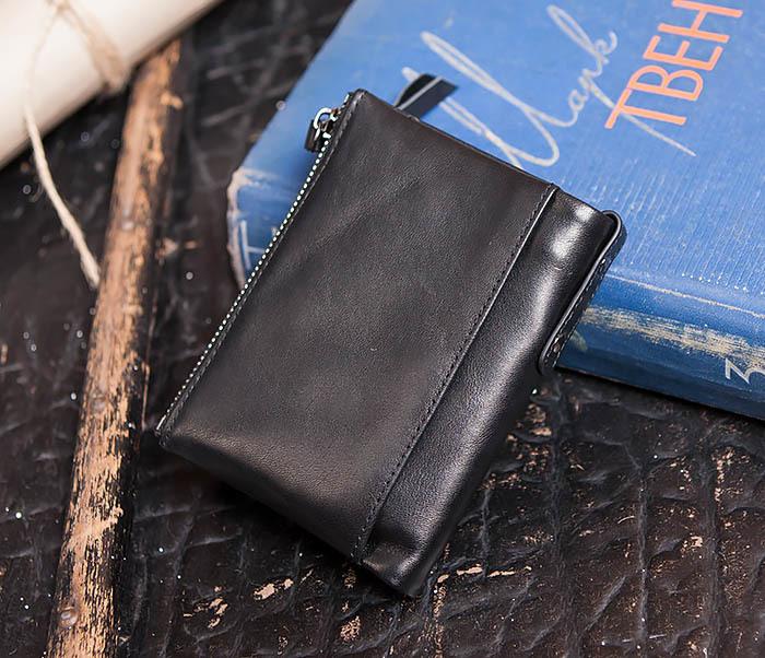 WL250-1 Черный мужской кошелек с монетницей на молнии фото 02