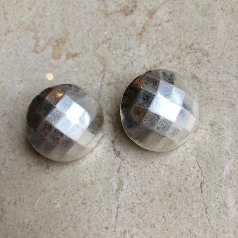 Серьги Матовый Диско Шар, серебряный цвет