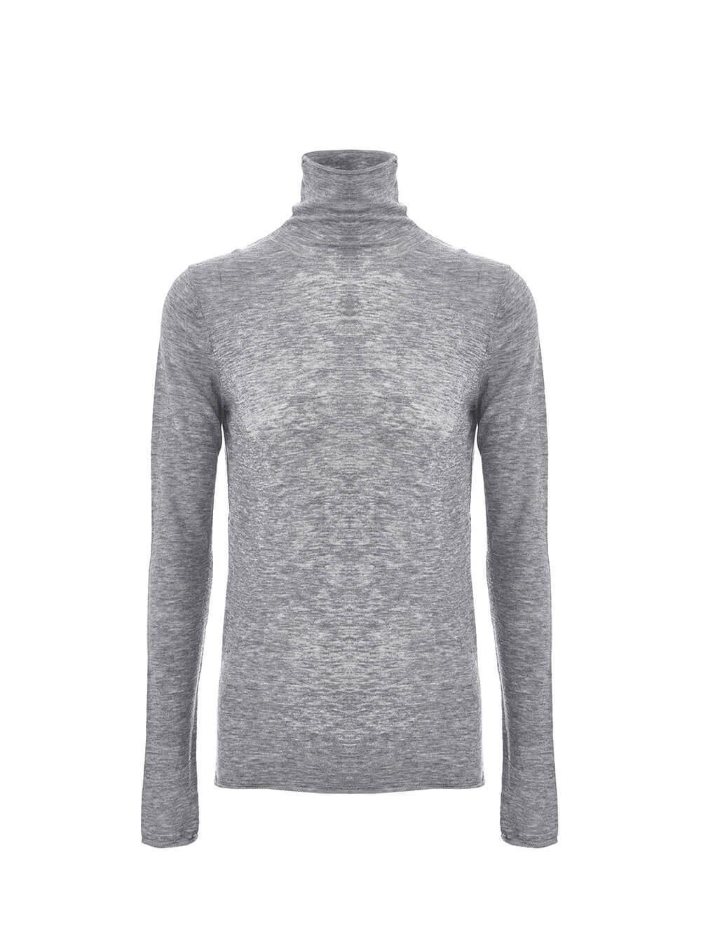 Женский свитер серый меланж цвета из 100% шерсти - фото 1