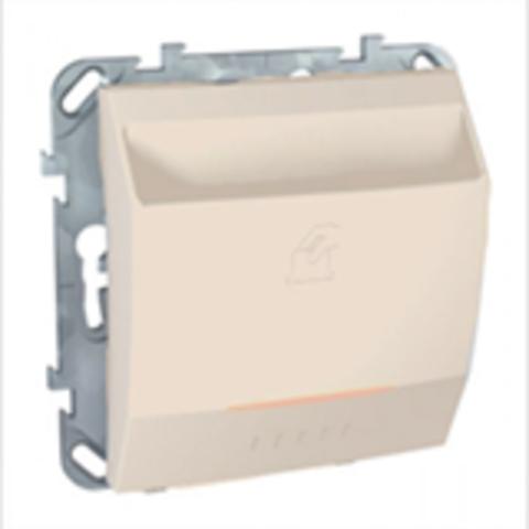 Карточный выключатель с подсветкой, 10А. Цвет Бежевый. Schneider electric Unica. MGU5.283.25ZD