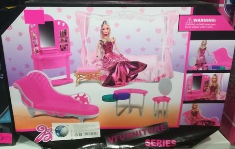 Кукла-принцесса с розовой мебелью