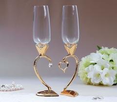 Набор свадебных бокалов «Сердце», 29 см, золото, фото 1