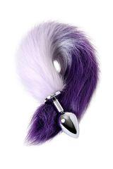 Серебристая металлическая анальная втулка с фиолетово-белым хвостом - размер M -