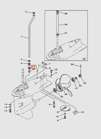 Втулка водяной трубки для лодочного мотора T40 Sea-PRO (24-19)