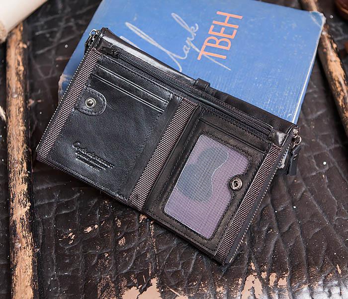 WL250-1 Черный мужской кошелек с монетницей на молнии фото 05