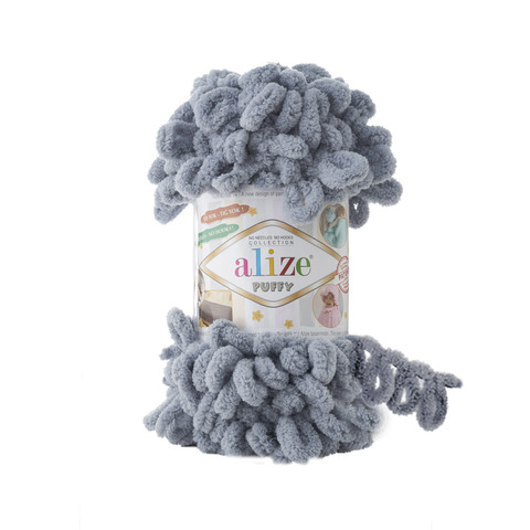 Купить Пряжа Alize Puffy Код цвета 428 Серый | Интернет-магазин пряжи «Пряха»