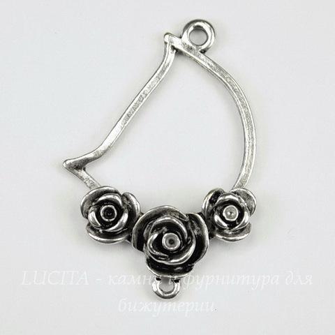 "Коннектор ""Три розы"" (1-1) 38х27 мм (цвет - античное серебро)"