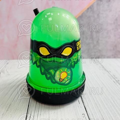Слайм-лизун Slime Ninja надувающийся, с трубочкой, цвет: Салатовый светится в темноте