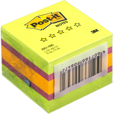 Стикеры Post-it Optima миникуб 2051-ONG 51х51 весна 400 л.