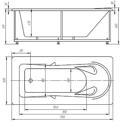 Ванна акриловая Aquatek Леда 170х80см. на каркасе и сливом-переливом схема