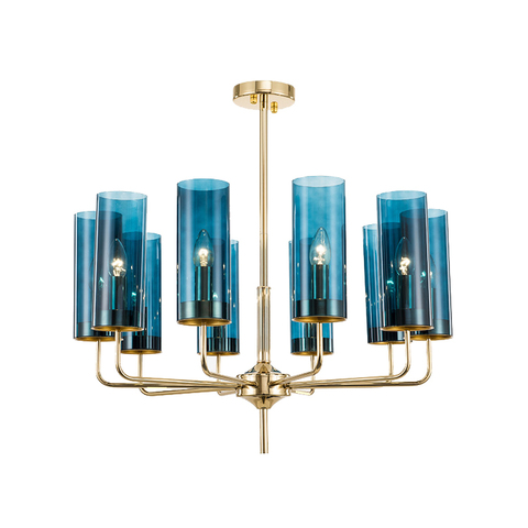 Люстра копия Brass & Blue Glass Tube by Hans-Agne Jakobsson (10 плафонов, синий)