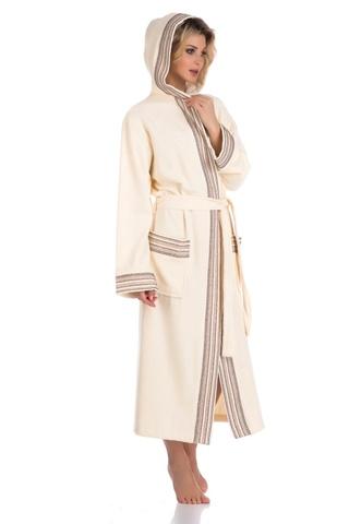 931 КРЕМОВЫЙ  бамбуковый женский халат с капюшоном  PECHE MONNAIE Россия