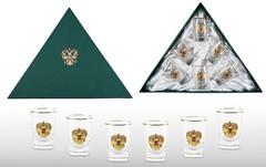Набор водочных стопок «Золотой запас» с позолоченной накладкой