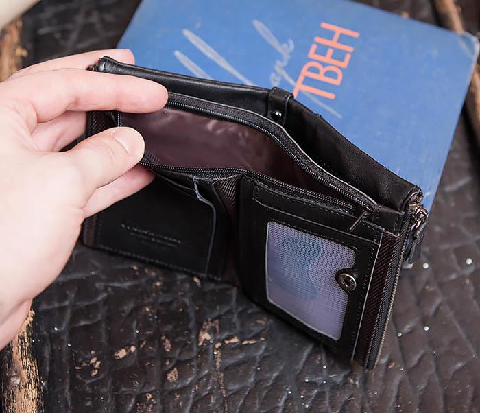 WL250-1 Черный мужской кошелек с монетницей на молнии фото 08