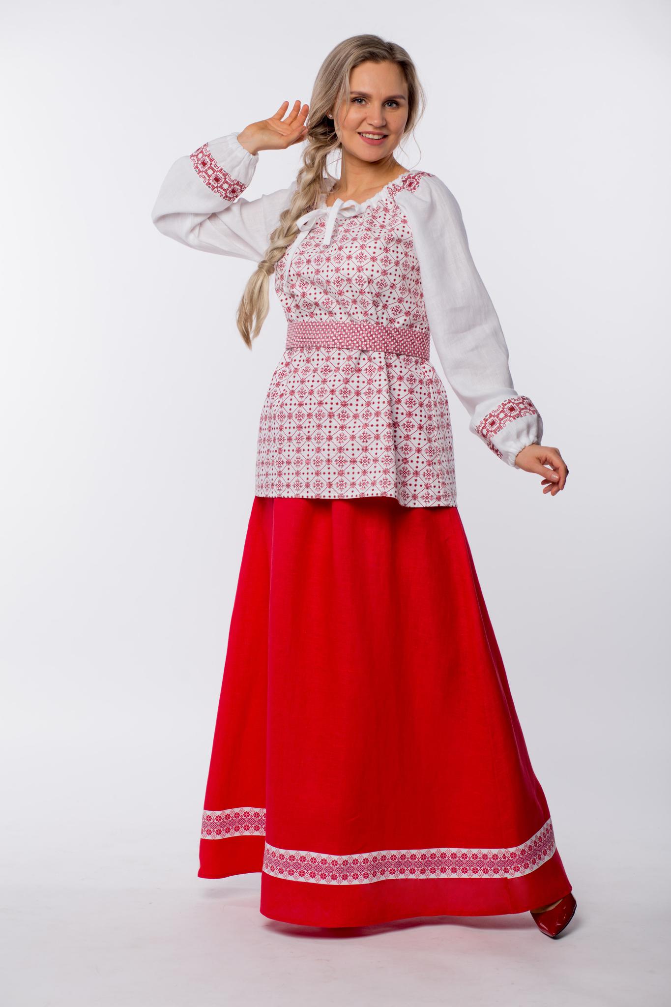 Блуза льняная Макошь на белом от Иванки